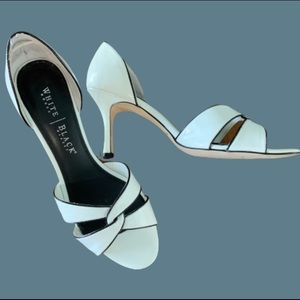 WHBM white open toe heels with black piping sz 10